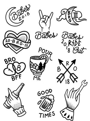 Babes Ride Out East Coast 3 Tattoo Flash — Babes Ride Out
