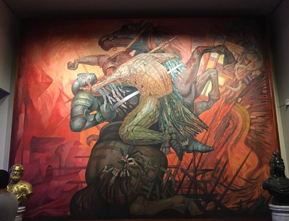 Mural by Jorge Gonzalez Camarena inside Chapultepec Castle.