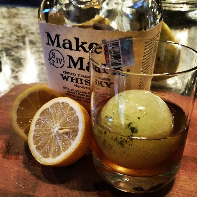 How can you go wrong with one of our signature Ice Ball Cocktails...Whisky Smash!! #timeless #craftcocktails #lubbocklife