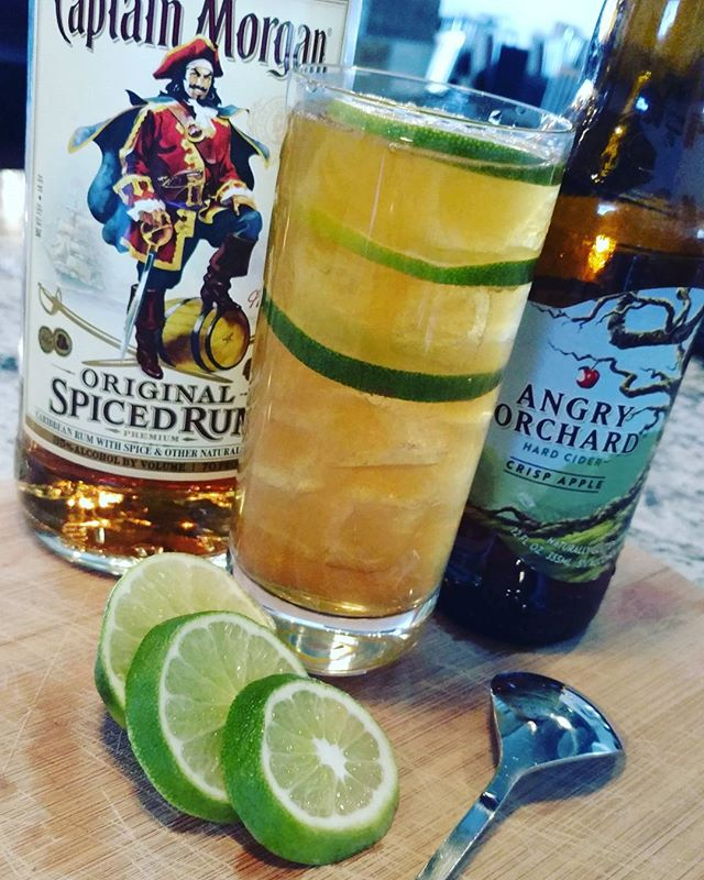 The Captains Orchard...Captain Morgan, Amaretto, fresh lime juice and finished with Angry Orchard hard cider #timeless #2016 #lubbocklife