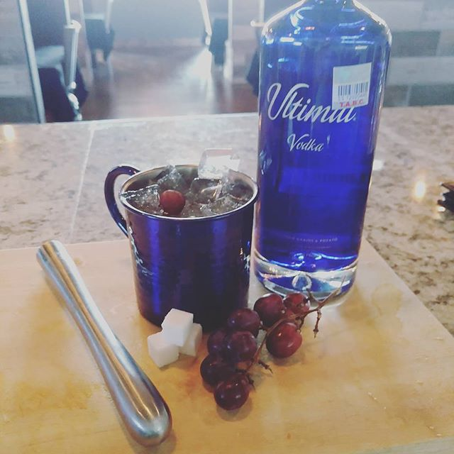 "Experimenting with some different recipes tonight so come on up and try them out...""Ultimat Crush"" includes Ultimat vodka, muddled grapes, fresh basil, and a sugar cube #timeless #craftcocktails #newrecipe"