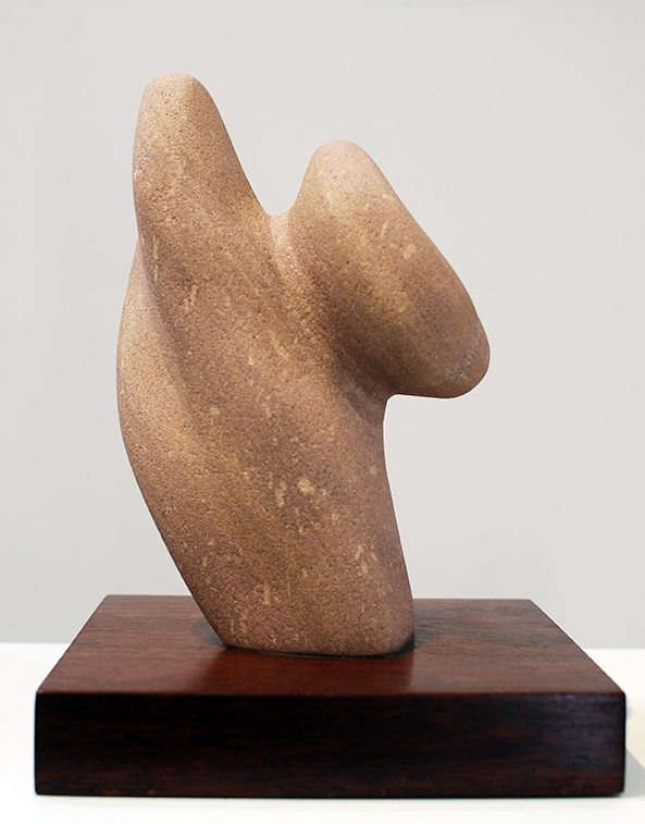 Copy of 'Attached', Simon Gandevia, sandstone on jarrah base.