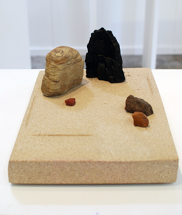 Copy of 'Zen Stonescape 2', Simon Gandevia, Burnt wood and four stones on Sandstone base.