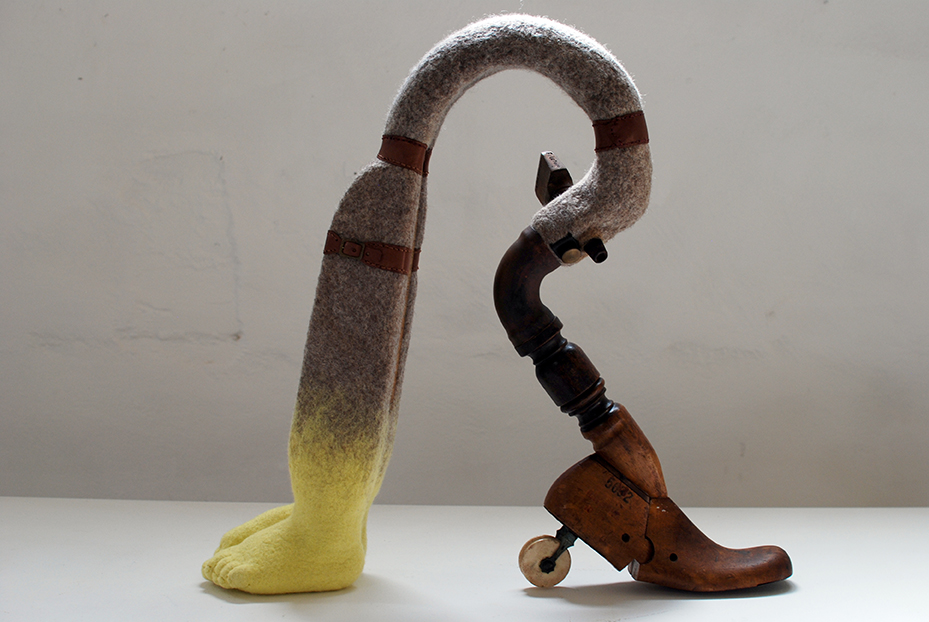 Copy of 'Fulcrum', Anita Larkin, felted wool and collected objects.