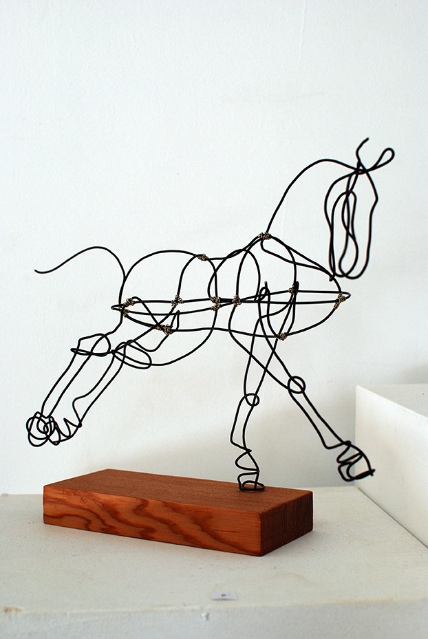 Copy of 'Constellation: Perseus', Jules Jones, Black wire with silver nickel on recycled oiled cedar.