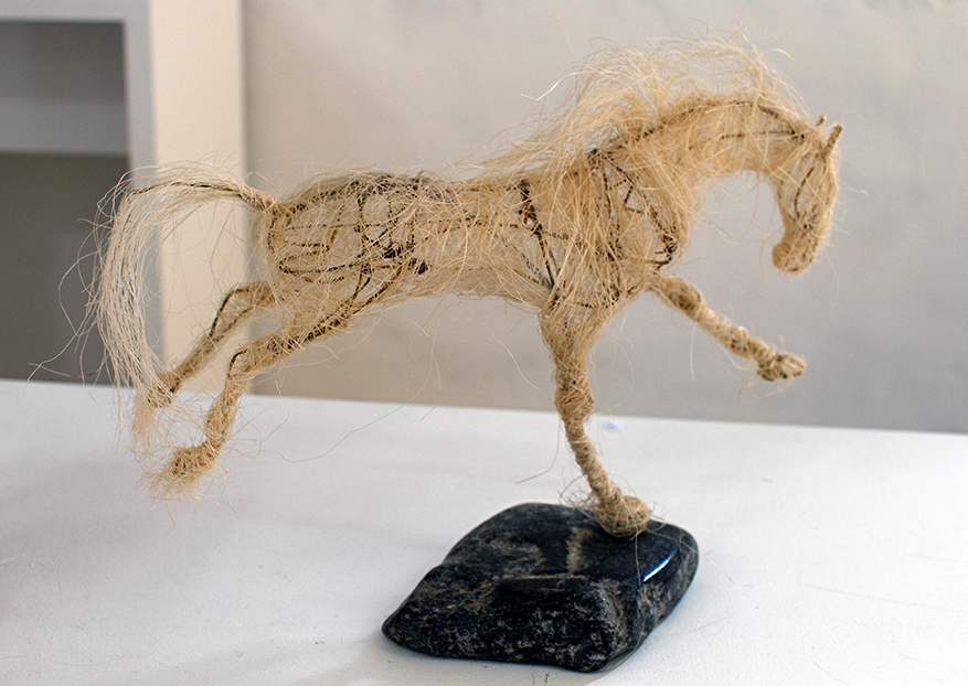Copy of 'Star Walking', Jules Jones, Sisal over brass wire on soapstone.