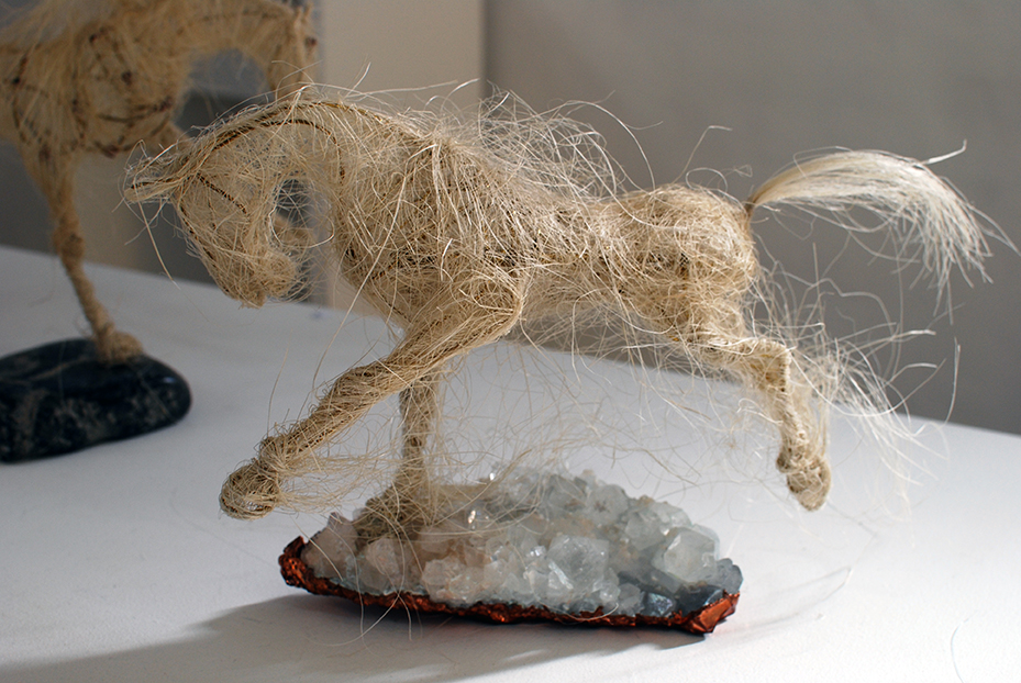 Copy of 'Crossing the Universe', Jules Jones, Sisal over brass wire on apophyllite crystal with copper.