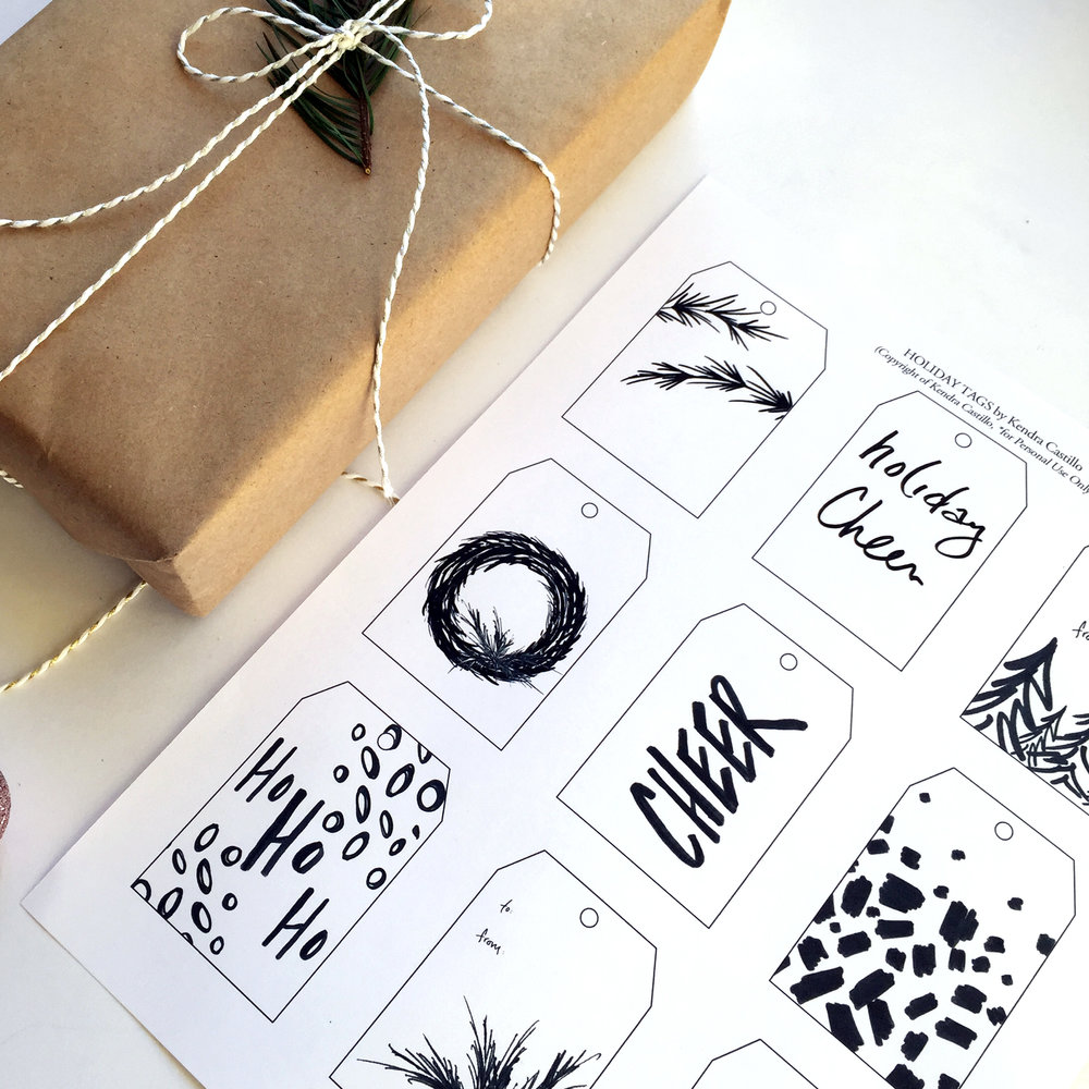 Black & White Gift Tags, Printable Download (9 designs) | Kendra Castillo.com