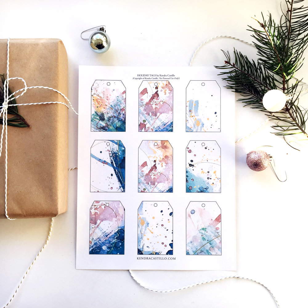 Colorful Gift Tags, Instant Download | www.kendracastillo.com