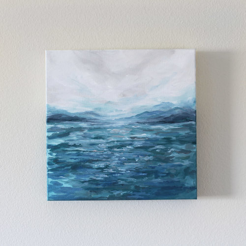 from the boat 10x10 acrylic on canvas kendra castillo