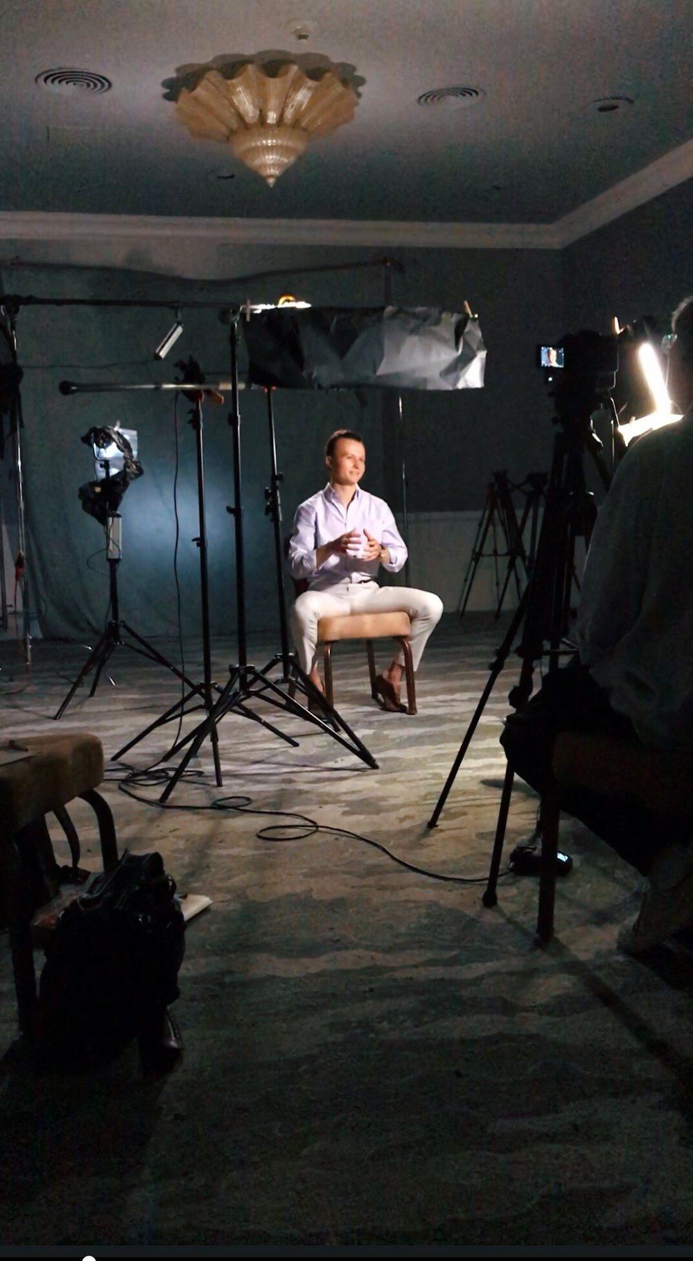Behind the scenes of our CMO discussing stem cells in an upcoming documentary.
