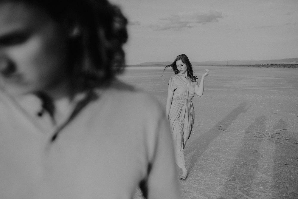 Couple walking on the salt flats