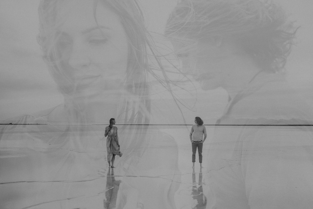 Double exposure of couple at the salt flats