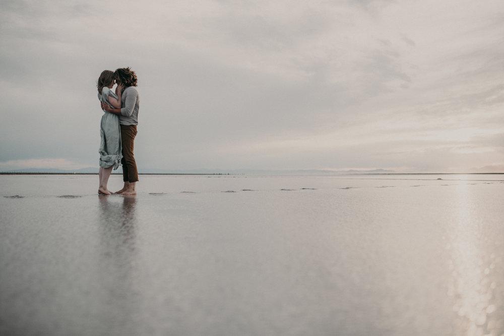 Engagement photos at the salt flats at sunset
