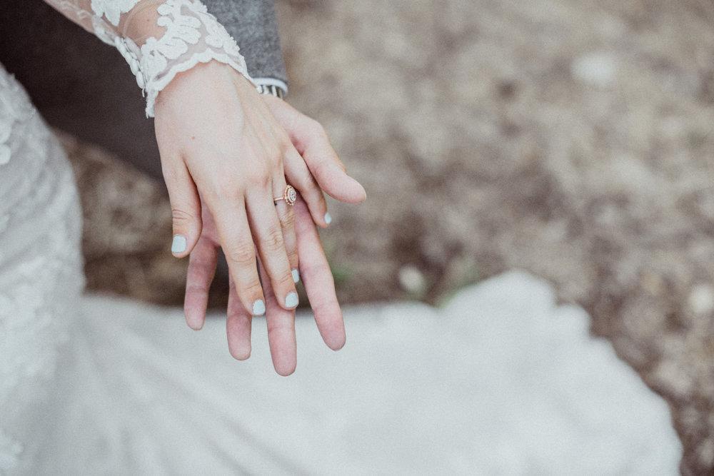 Rose gold wedding ring lace dress
