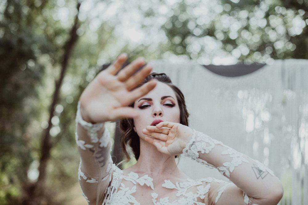 bride in lace dress loch lomond pond