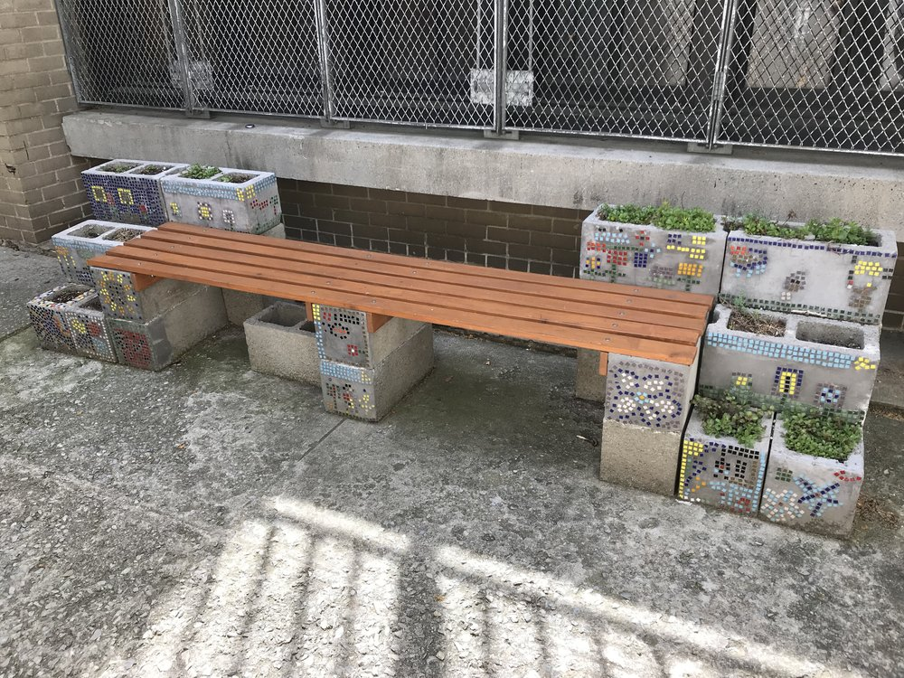 The finished bench a year later.