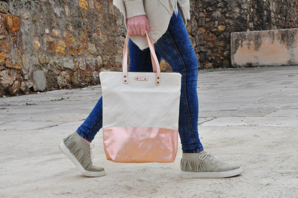 Soi 55 rose gold Kirra canvas tote bag with leather strap