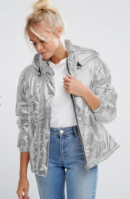 soi 55 silver fashion finds metallic bomber jacket