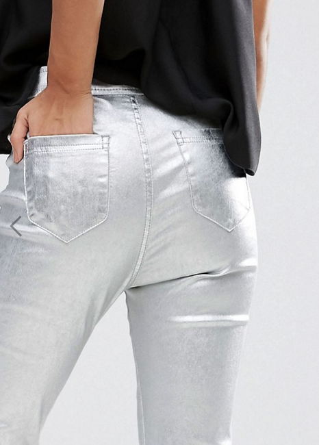 soi 55 silver fashion finds silver metallic jeans from asos