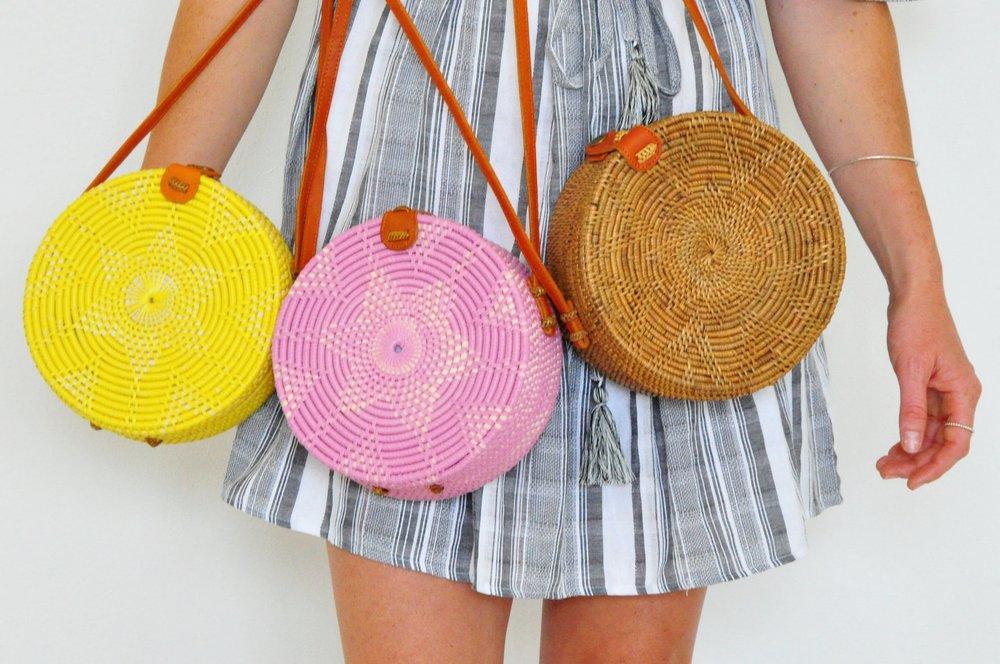 Round colourful cantik bali bag in pink | Soi 55