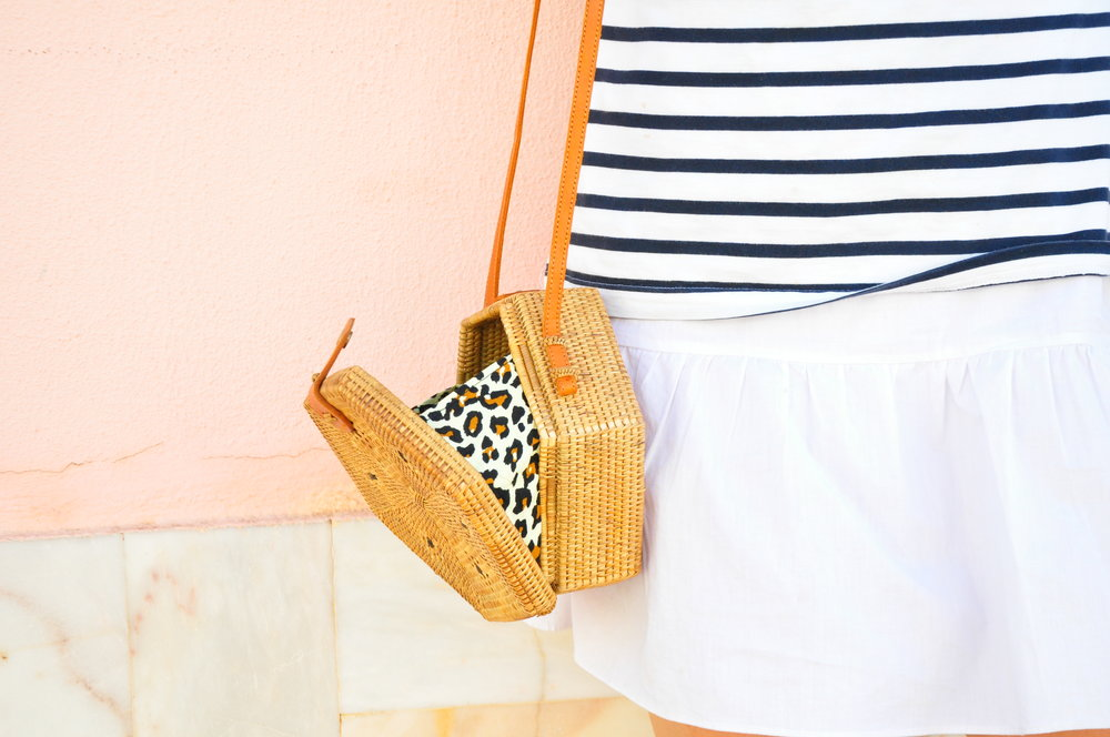 Leopard print rattan hexagon bag | Soi 55