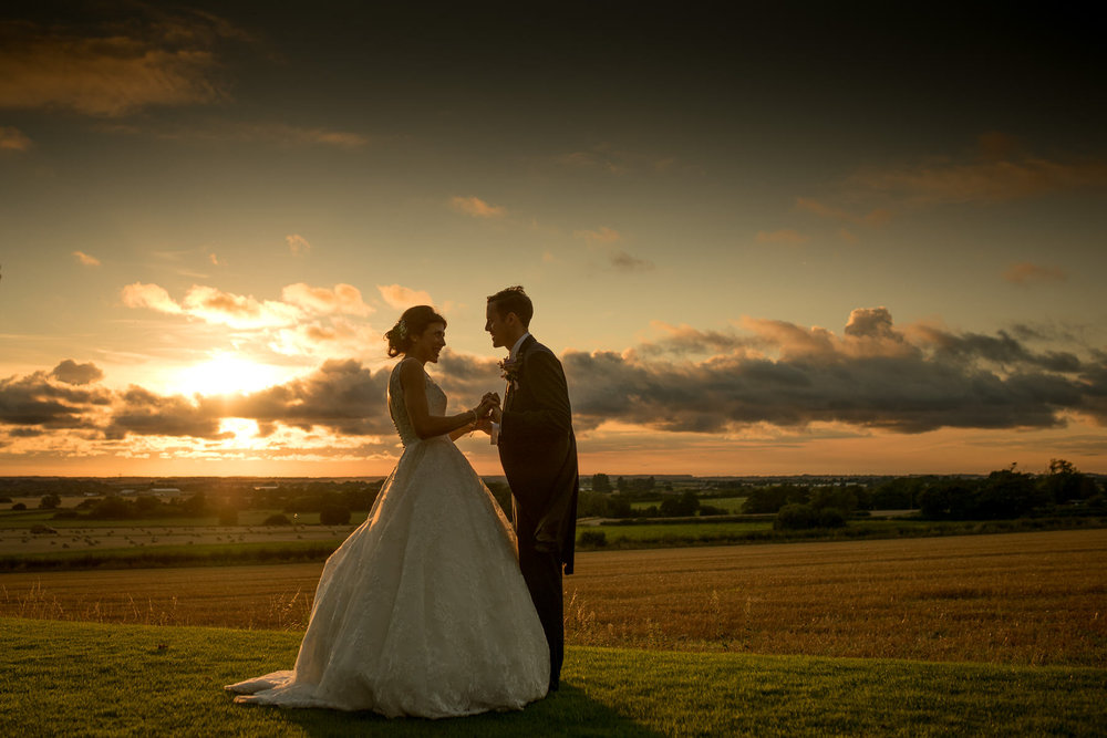 Bride and groom at sunset at West Tower in Ormskirk