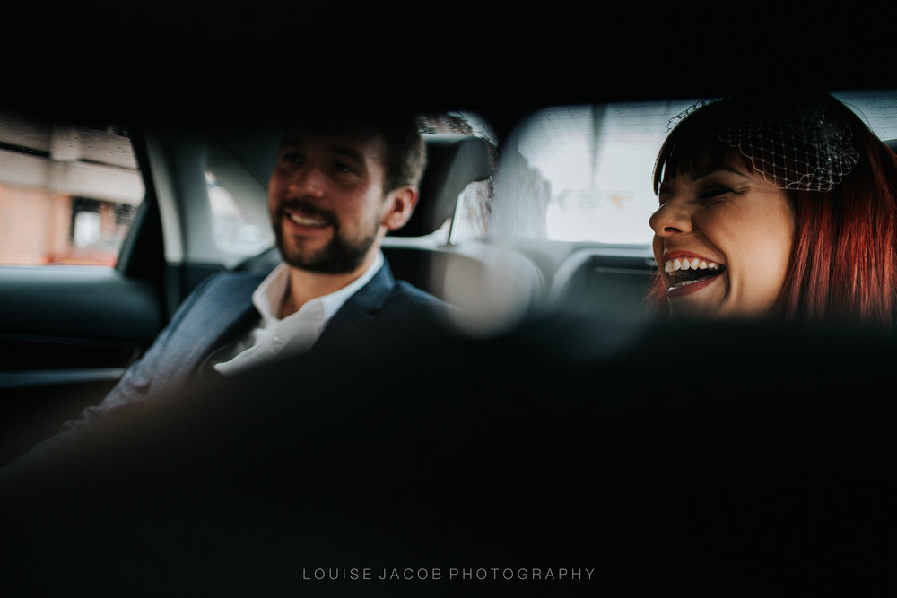 Documentary Wedding Photography- bride-and-groom-in-wedding-car-chester