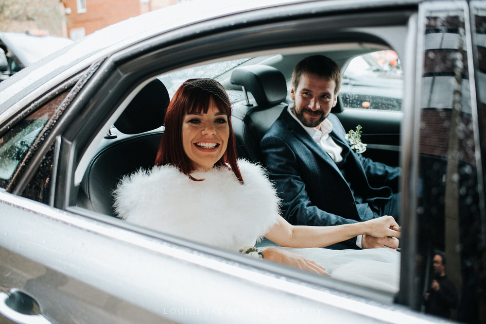 Documentary Wedding Photography bride and groom in wedding car