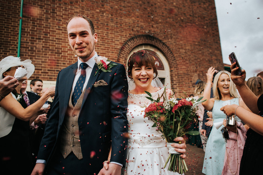 Cheshire Documentary Wedding Photography Confetti shot