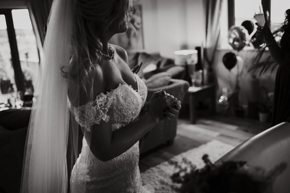 A bride in her wedding dress