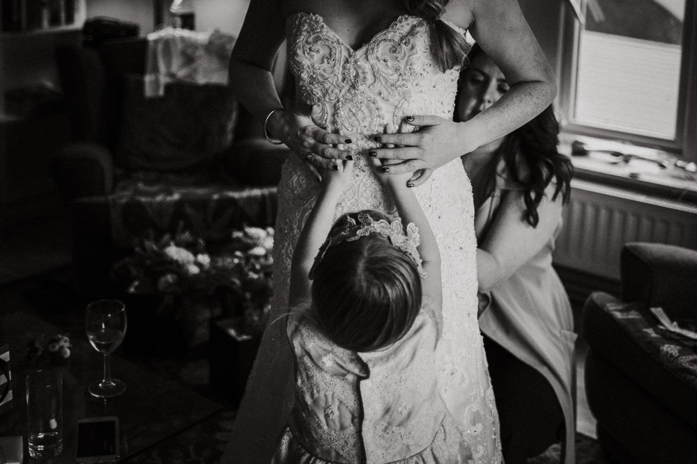 Cheshire candid unposed documentary wedding photography Flower girl