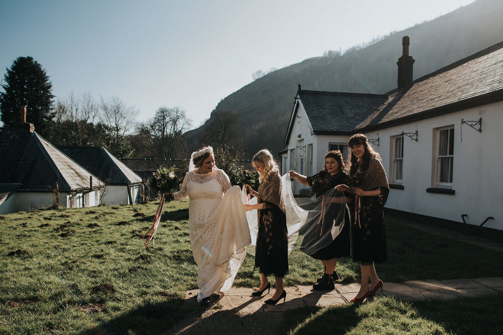 Wedding Photojournalism - A bride with her bridesmaids