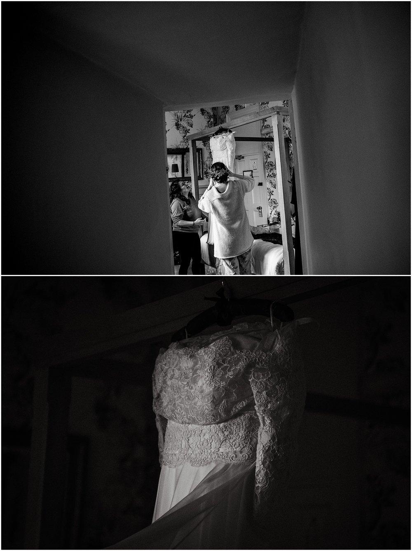Cheshire wedding photographer - wedding dress at Pelham House Hotel, Sussex