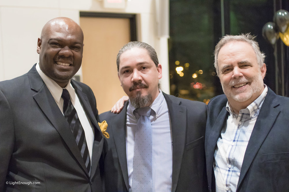 L-R: Sam Kelly, Executive Director, Will Torres and Marky Riley, Micros-Business Specialist at Bridges to independence Gala (March, 2016)