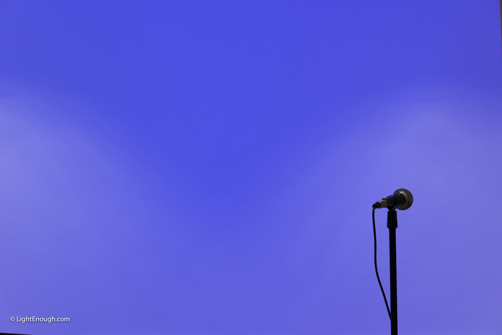 Microphne on Blue Background