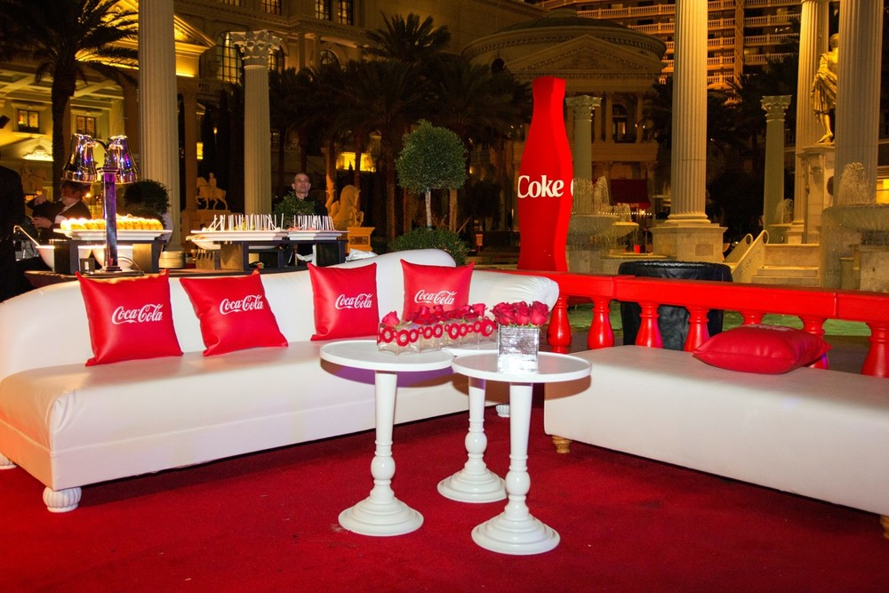 Our Coca-Cola lounge at Caesar's Palace showcases the brand by immersing attendees in a variety of branded items