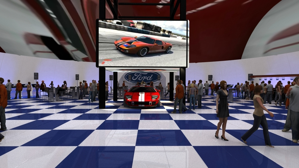 A still from a pitch to Ford featuring their new GT supercar and multiple networked simulators and a projection mapped roof.