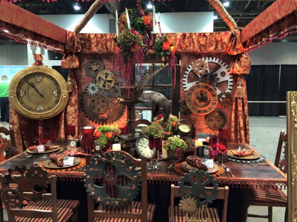 AWG won the 2015 Best of Show CaterSource Tablescape award for its steampunk inspired design