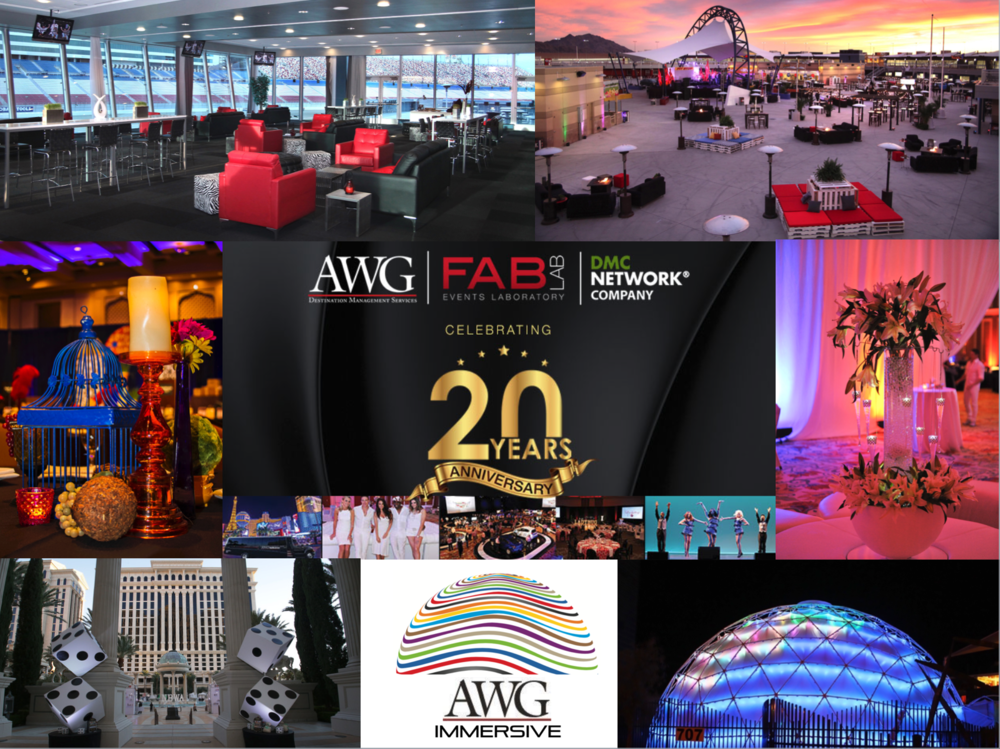 AWG is pleased to celebrate 20 years of event design, logistics and staffing excellence!