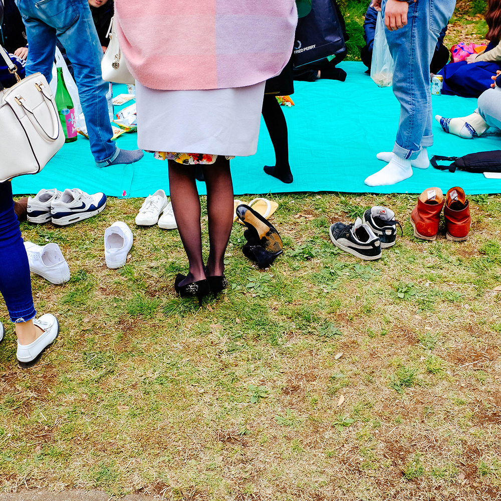 Tokyo Hanami shoes off, please.