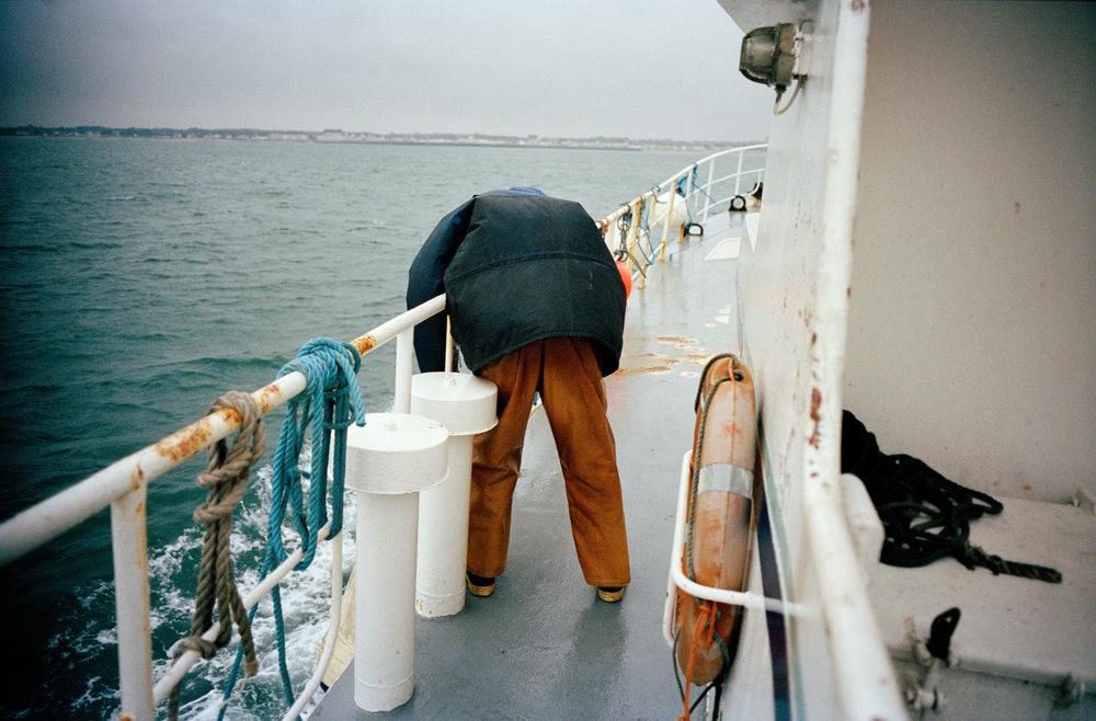 Retour du  Magayant  au port de la Turballe au terme de cinq jours en mer, après avoir atteint le quota de pêche autorisé par l'union européenne.
