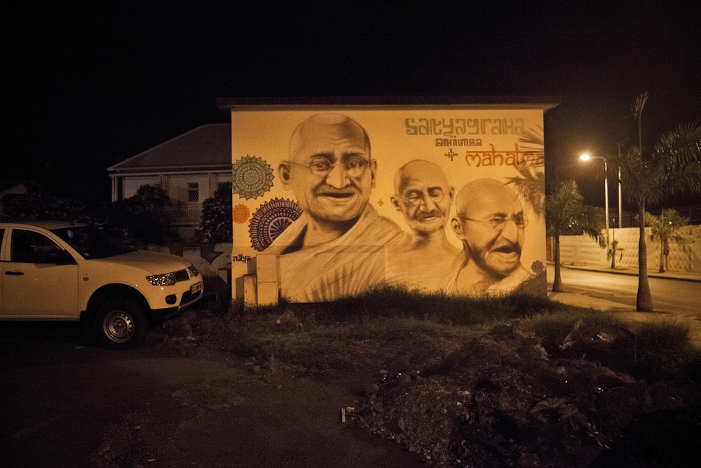 Graffiti en hommage à Gandhi, Saint-Louis.