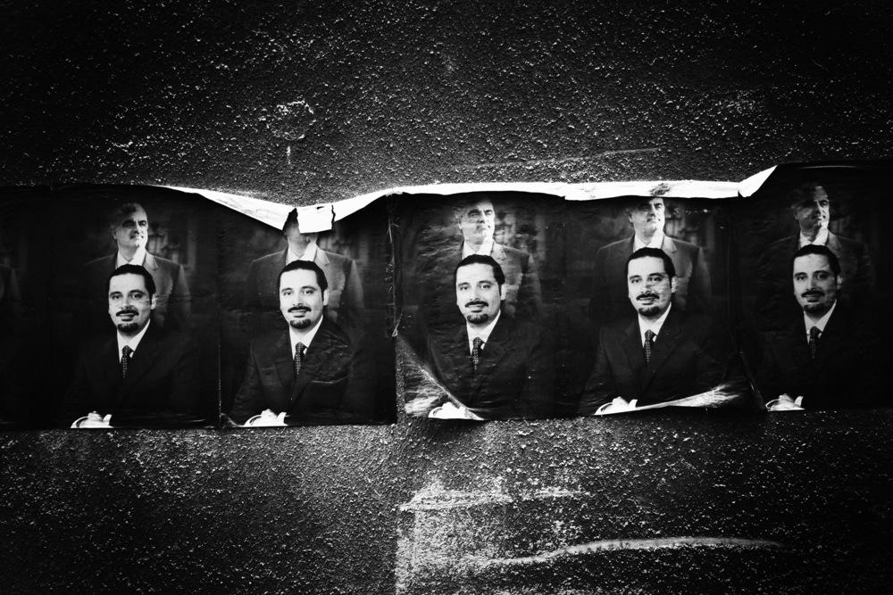Affiches de Saad Hariri futur premier ministre, avec en arrière plan Rafic Hariri, son père, ancien Premier ministre assassiné dans un attentat Beyrouth, décembre 2005