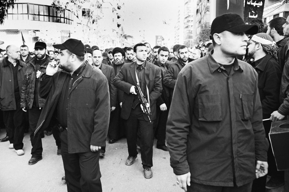 Dignitaires du Hezbollah lors d'un défilé à l'occasion de l'Achoura, fête religieuse musulmane, où les chiites commémorent le massacre de l'imam Husayn Beyrouth, janvier 2009