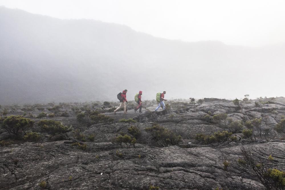 30 juin 2014, 30 juin 2014, L'équipe de la mission VolcArray installe les nods (sismomètres) sur le volcan du Piton de la Fournaise . Ile de la Réunion.