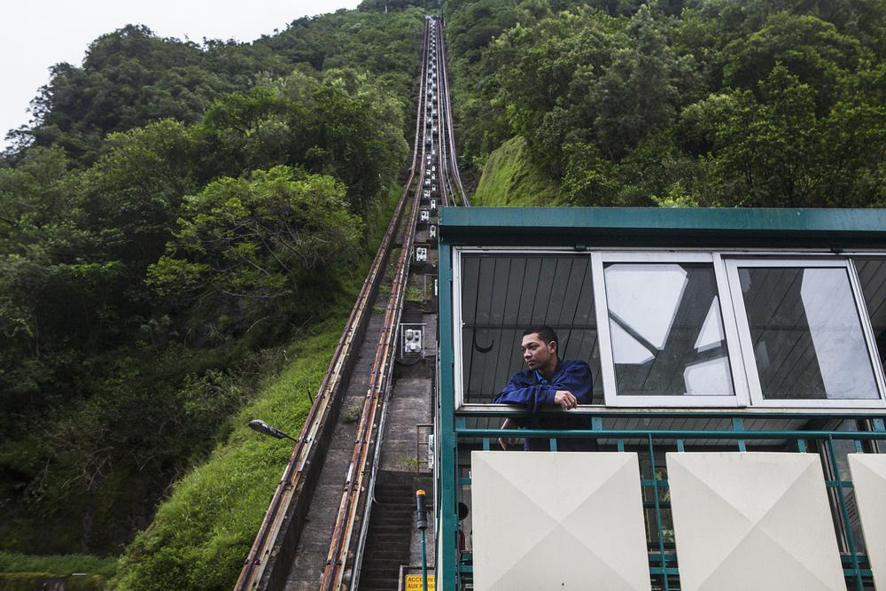 Funiculaire de la station hydro électrique EDF de Takamaka. Juillet 2015, Ile de la Réunion.