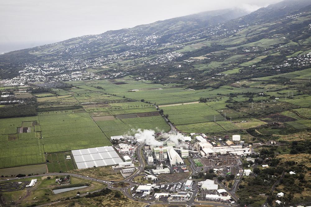 Vue aérienne de l'usine du Gol. Juillet 2015, St-Louis, Ile de la Réunion.