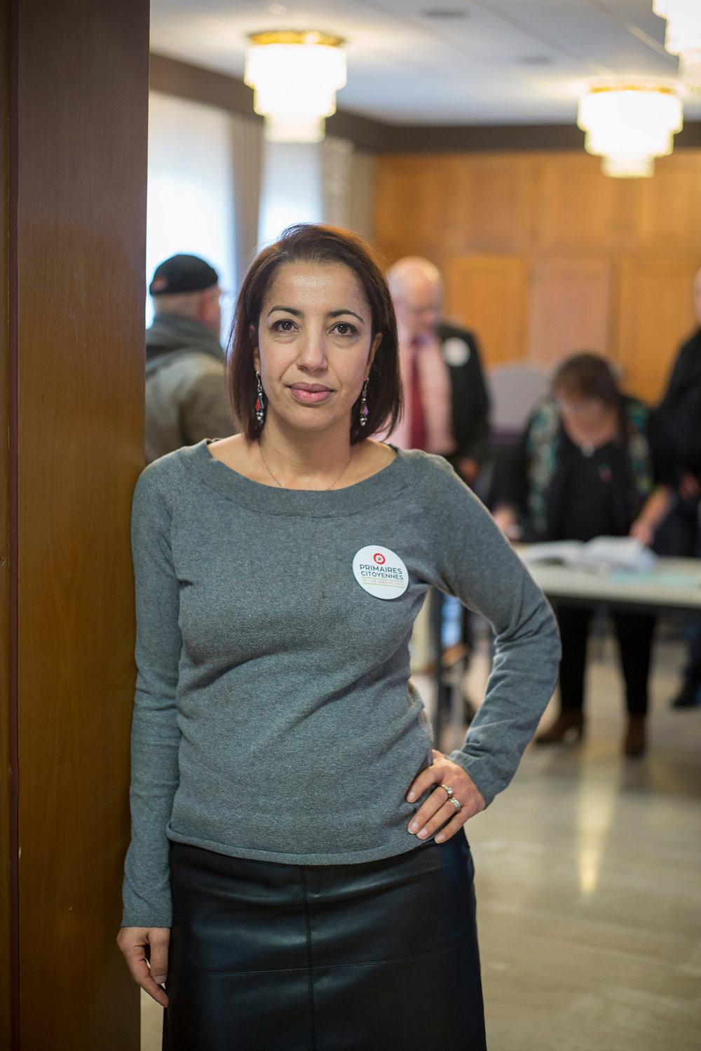 Aïcha Hatri, militante PS depuis 2008 et présidente des l'un de bureaux de Fameck. Moselle, 22 janvier 2017