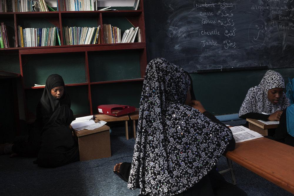 Cours de lecture pour les enfants à la Madressah de la mosquée Chafeïte du Port.